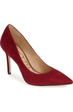 Sam Edelman 'Hazel' Pointy Toe Pump (Women) available at #Nordstrom Red Tango Suede - 7M Sam Edelman's run narrow at toe.  May need some heel cushions (foot petal)
