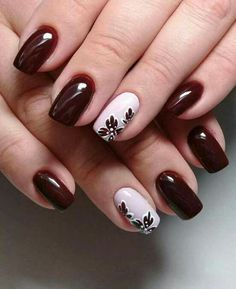 Wine red nails are so perfect for fall! Hope you agree and read the article. #WineRedNails #FallNails #MatteNails Matte Nails, Red Nails, Autumn Nails, Hair And Nails, Flower Nail Art, Flower Design Nails, Fingernail Designs, Nail Art Designs, Beautiful Nail Art