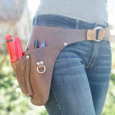 These beautiful handmade leather Farmer-Florist tool belts were custom designed