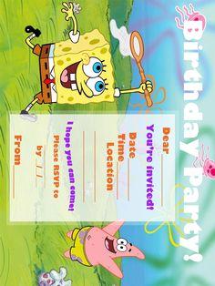 free spongebob invite FREE Printable Spongebob Squarepants Birthday