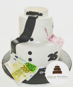 Quand monsieur aime trop l'argent voilà le gâteau que madame lui offre 😊  Commandez dès aujourd'hui votre gâteau d'anniversaire ou votre piece montee de mariage et faites vous livrer chez vous sur toute la France 🇫🇷 www.gateaucreation.fr  Gâteau création  9, place des Fauvelles  92400 Courbevoie  Tel: 01.43.34.15.40
