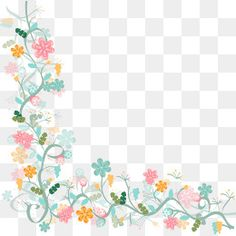 Watercolor floral border background vector material