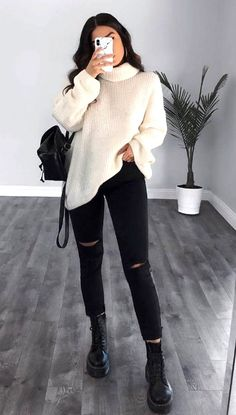 50 Cute And Trendy Fall Outfits Ideas For School – Page 46 of 50 outfits herbst Trendy Fall Outfits, Winter Outfits Women, Casual Winter Outfits, Winter Fashion Outfits, Simple Outfits, Stylish Outfits, Winter Dresses, 70s Fashion, Korean Fashion