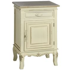 Bedside tables in cream.