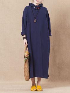 Vintage Women Plate Buckle Long Sleeve Side Split Hooded Dresses