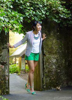 Striped blazer & green shorts