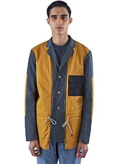 MARNI Men'S Technical Poplin Patchwork Jacket In Mustard And Blue. #marni #cloth #