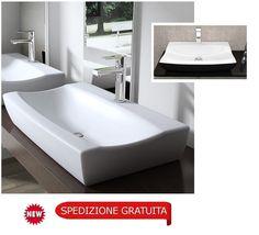Lavabo in ceramica ROMA lavandino da appoggio in colore bianco o bianco/nero REA