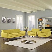 Engage Armchairs and Sofa Set of 3 in Sunny. Available at LexMod.com. CODE: 1345-SUN Gently sloping curves and large dual cushions create a favorite lounging spot. Whether plopping down after a long day at work, settling in with coffee and brunch, or entering a spirited discussion with friends, the Engage sofa is a welcome presence in your home.