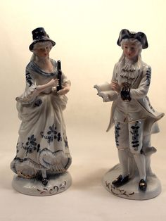 Blue White Porcelain Figurines Set of 2 Gold by OnceAgainTreasure