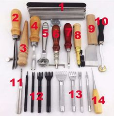 20 Tools Leather craft Hand Sewing Tool Set * You can find more details by visiting the image link-affiliate link. Leather Working Tools, Leather Craft Tools, Leather Projects, Sewing Leather, Leather Pattern, Leather Accessories, Leather Jewelry, Leather Workshop, Leather Stamps