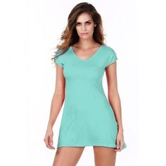 New Womens Fashion Short Sleeve V-Neck Loose Off Shoulder T-Shirt Blouse