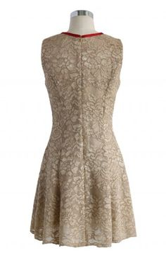 Glam in Lace Flare Dress in Brown - Dress - Retro, Indie and Unique Fashion