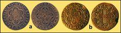 Numisarchives. Numismatique. Jetons. Navarre: Jetones con escudo dimidiado Evreux/Navarra, y cruz del reverso recta. a: Tipo 061; b: Tipo 062.