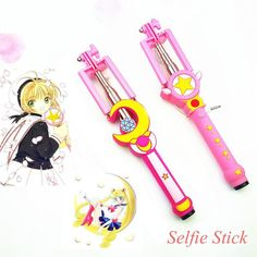 Sailor Moon Selfie Stick Wand or Card Captor Sakura Selfie Stick Wand. Magical girl power! Mahou Shoujo! So kawaii! 💖 100% FREE Shipping Worldwide! 💖Tons more Kawaii, Lolita, Harajuku, Fairy-Kei, Larme, Pastel-Goth, Cosplay, Magical Girl, and Harajuku Japan Fashion Goodies at www.KawaiiBabe.com 💖
