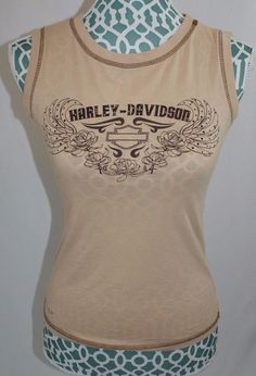 Harley Davidson Tan Brown Tank Top embellished Huntsville Alabama Womens Size S #HarleyDavidson #TankCami #Casual