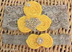 Totally buying you this, Amanda!!! ;)  Yellow and Gray Wedding Garter Set - Toss Garter - Bridal Garter -Wedding - Bride -. $20.00, via Etsy. These would also be adorable headbands if you had a baby girl in the future!