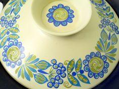 1960's Tor Viking Turi Gramstad Oliver 2 Qt. Casserole + Lid Blue Green Flowers