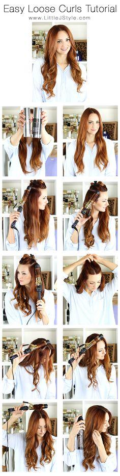 Easy Loose Curls Hair Tutorial | www.LittleJStyle.com #hair #hairtutorial