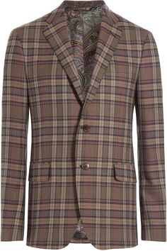 $1,327, Brown Plaid Blazer: Etro Checked Wool Blazer. Sold by STYLEBOP.com. Click for more info: https://lookastic.com/men/shop_items/295043/redirect