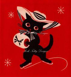 Vintage 1930s Art Deco Cat On The Ice Christmas Greetings Card Digital Download Printable Image (327). $1.50, via Etsy.