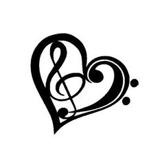 Heart Love Music Treble Clef Vinyl Decal Sticker