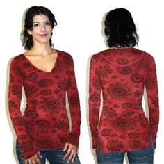Molly TA003 $75  Fitted printed l/s v-neck top in brick color. #Madeintheusa