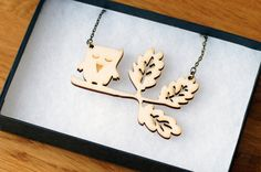 SALE owl laser cut wooden necklace, oak branch with owl, wood, woodland theme £12.00