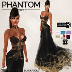Phantom by Wild Orchid in Black/Gold INCLUDES APPLIERS!!
