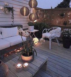 Small gardens, back gardens, backyard lighting, fence lighting, outdoor Backyard Patio, Backyard Landscaping, Outdoor Deck Lighting, Fence Lighting, Apartment Porch, Outdoor Rooms, Outdoor Decor, House With Porch, Gazebo