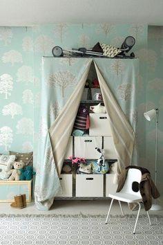 Closet diy curtain shelves Ideas for 2019 Kids Closet Storage, Toy Storage, Storage Boxes, Storage Ideas, Cheap Storage, Closet Shelves, Diy Curtains, Curtain Fabric, Shower Curtains