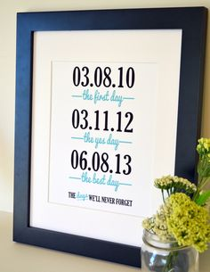 Wedding anniversary 8x10 important date print- Days we'll never forget- gift for wife- Customizable wedding sign- best day ever. $11.00, via Etsy.