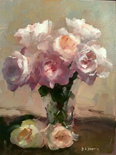 """Roses Lit From Above"" - painting by Dennis Perrin Art Oil, Art Painting, Rose Painting, Floral Painting, Oil Painting Flowers, Rose Art, Floral Art, Painting, Beautiful Art"
