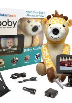 Zooby Car and Home Baby monitor is a must-have for safety conscious parents! The monitor's camera is embedded in a specially designed plush that allows it to be placed anywhere at home, in a car or on the go, making it the most portable monitor on the market! With the new large 4.3″ split screen version a parent can even view 2 rear facing infants in the back seat of the car. The monitor is 100% wireless, includes night vision, rechargeable batteries, and all accessories necessary to use…