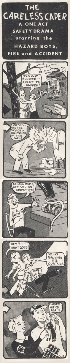 "1954 4-H Comic: ""The Careless Caper: A One Act Safety Drama Starring the Hazard Boys, Fire, and Accident"""