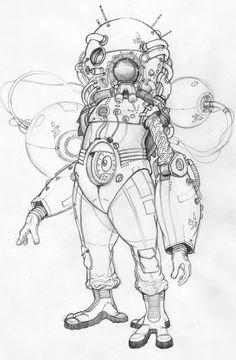 Another Shaun Venish iteration of the man in the diving bell suit