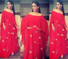 Bollywood actress Amrita Rao looked gorgeous as ever in a Neeta Lulla cape lehenga set at a press conference in Jaipur. With minimal make-up and a simple hair-do she looked graceful as ever. She added bold statement earrings to round off her look.