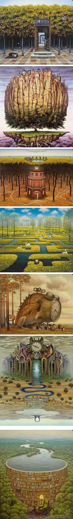 Jacek Yerka 야첵 예르카. 초현실주의 작가. 공간의 왜곡, 비현실적인 공간 사용 투시법 파괴 결과적으로 환상적인 공간, 꿈꾸는 듯한 장면을 연출해냄 하지만 묘사는 사실적임. 환상적 공간에 사실적 묘사는 자칫 징그러워질 수 있으니 주의하자. 키워드 #환상적인 공간 #초현실주의