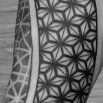 Start of geometric sleeve by Mat Bone #sleeve #geometric #tattoo #blackwork #patternwork #geometrictattoo