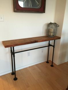 Wood Entry Table reclaimed wood industrial console table / h-shaped metal legs