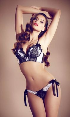 lingerie / white with black lace