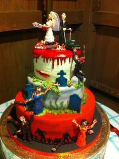 zombie cake - Bing Images - Happy birthday to meeeeee - Hochzeitstorte Zombie Birthday Cakes, Birthday Cake For Father, Zombie Wedding Cakes, Unusual Wedding Cakes, Funny Wedding Cakes, Square Wedding Cakes, Birthday Cake Girls, Wedding Cake Designs, Happy Birthday