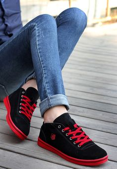 Mens  red  amp  black casual leather lace up  sneakers sport shoes logo  print a002811bcb