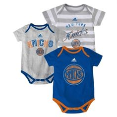 f788b000072 Newborn New York Knicks adidas Royal Blue 3-Point Play Creeper Set Grey  Stripes