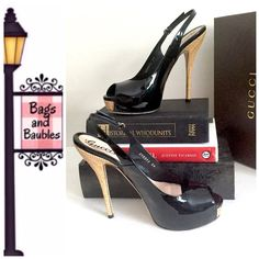 """✂️GUCCI Sofia Black Patent Leather Slingbacks, 39 Excellent Gently Worn Condition: GUCCI Sofia Open Toe Platform Slingback Sandals, Size 39 IT. Shiny black patent leather upper with gold-tone buckle at strap and 6"""" woven natural straw covered heels with hidden 1"""" platforms. Includes original box and dust bag. Made in Italy.  [#215]   Always Authentic 