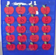 I have done this game in September while we work on number recognition.  My kids really enjoy it.  Most of us have apple calendar numbers we can use so all you need is a little green worm out of foam or paper and you're ready to play!
