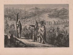 French Engraving from 1860  The Expedition's Captain Captured By The Native Americans by reveriefrance on Etsy