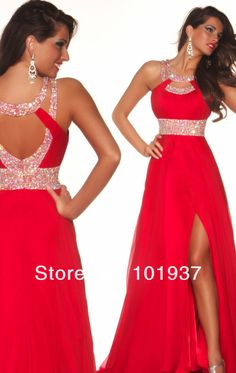 Women's Evening Gowns With Slits Red Chiffon Beaded Floor Length Sexy Backless Halter Long Prom Dresses Fast Shipping $110.00