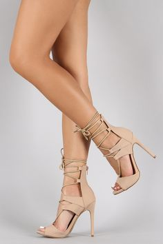 Shoe Republic LA Corset Lace Up Peep Toe Heel