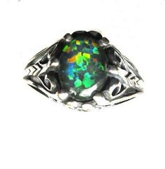 Man Made Opal Triplet Sterling Silver Ring by GriffinsNestJewelry, $77.98